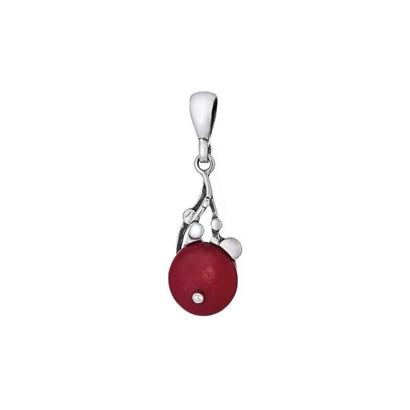 Dłuższy wisiorek ze srebra 925 z okrągłym czerwonym koralem.