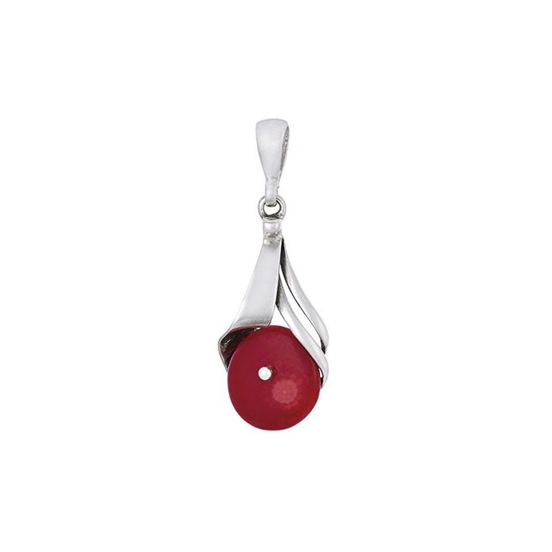 Piękny dłuższy wisiorek ze srebra 925  z prostą zawieszką i okrągłym czerwonym koralem.