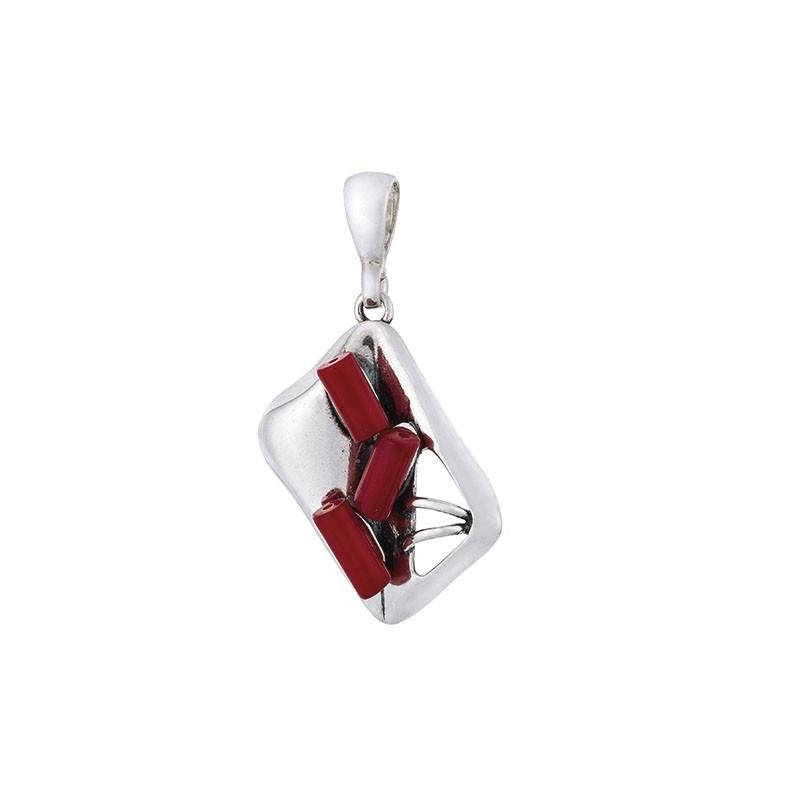 Wisiorek srebrny 925 w kształcie ramki a w środku 3  czerwone korale.