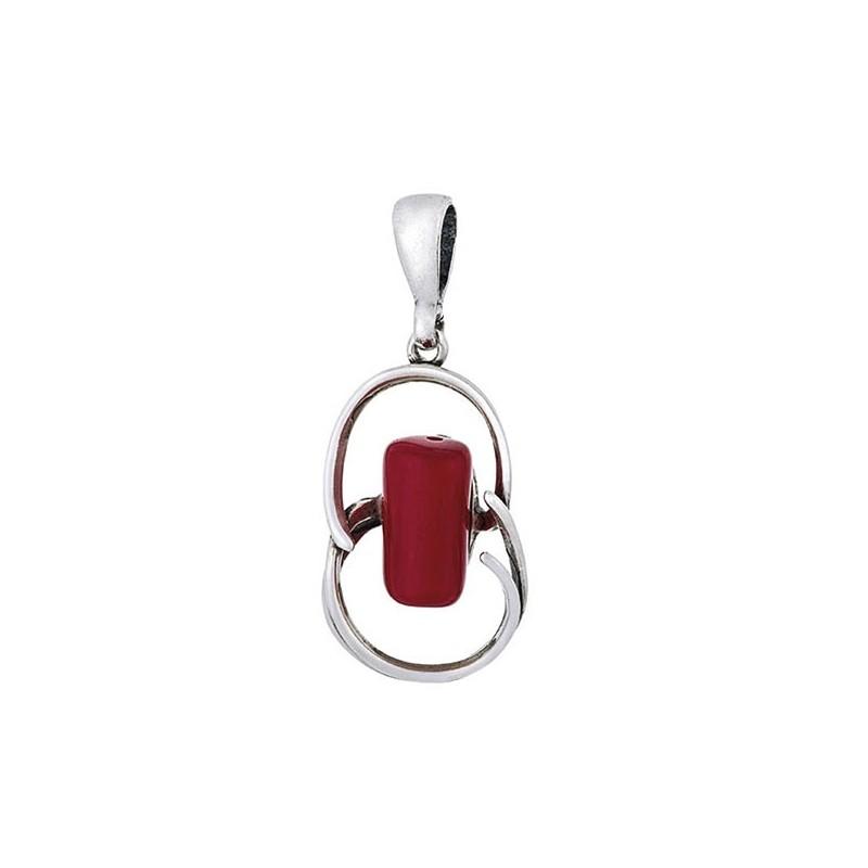 Piękny wisiorek ze srebra 925 z dużym wałeczkiem czerwonego koralu.