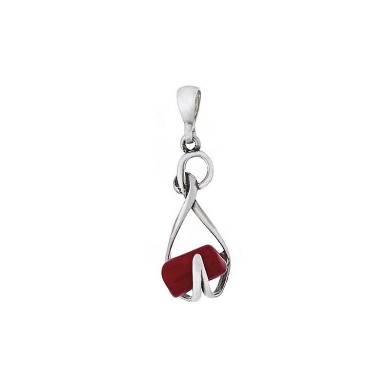 Dłuższy wisiorek srebrny 925 o ciekawym kształcie z czerwonym koralem.