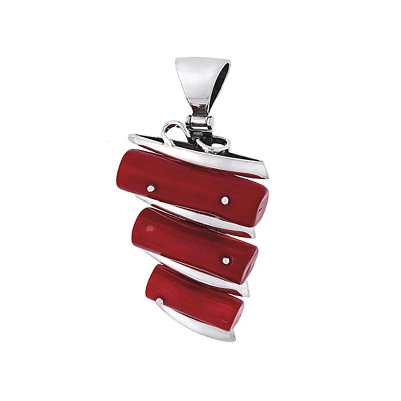 Ręcznie robiony piękny wisiorek ze srebra 925 w kształcie drabinki z większymi czerwonymi koralami.