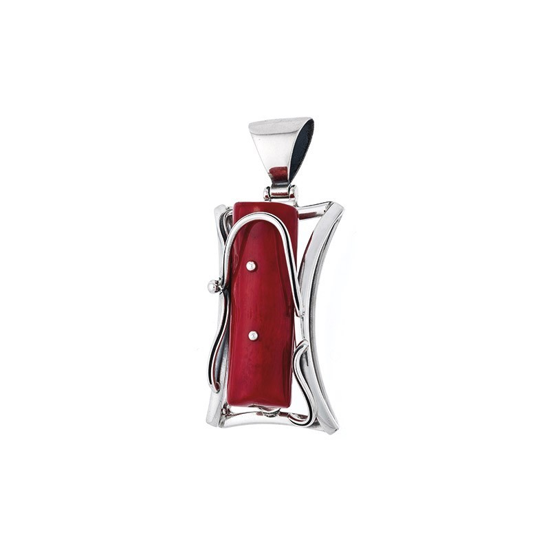 Piękny wisiorek ze srebra 925 w kształcie ramki z większym czerwonym koralem w środku.