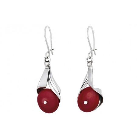 Sterling silver coral earrings