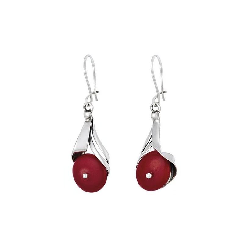 Piękne dłuższe kolczyki ze srebra 925 z naturalnym czerwonym koralem.