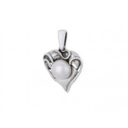 Piękny ozdobny wisiorek o kształcie przypominającym liścia ze srebra 925 z okrągłą naturalna perłą.
