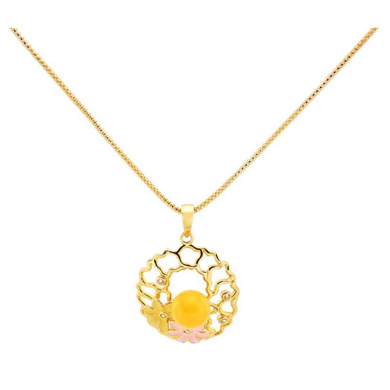 Naszyjnik srebrny pozłocony 24 karatowym złotem z ażurową zawieszką zdobiona cyrkoniami, emalią i białym  bursztynem.