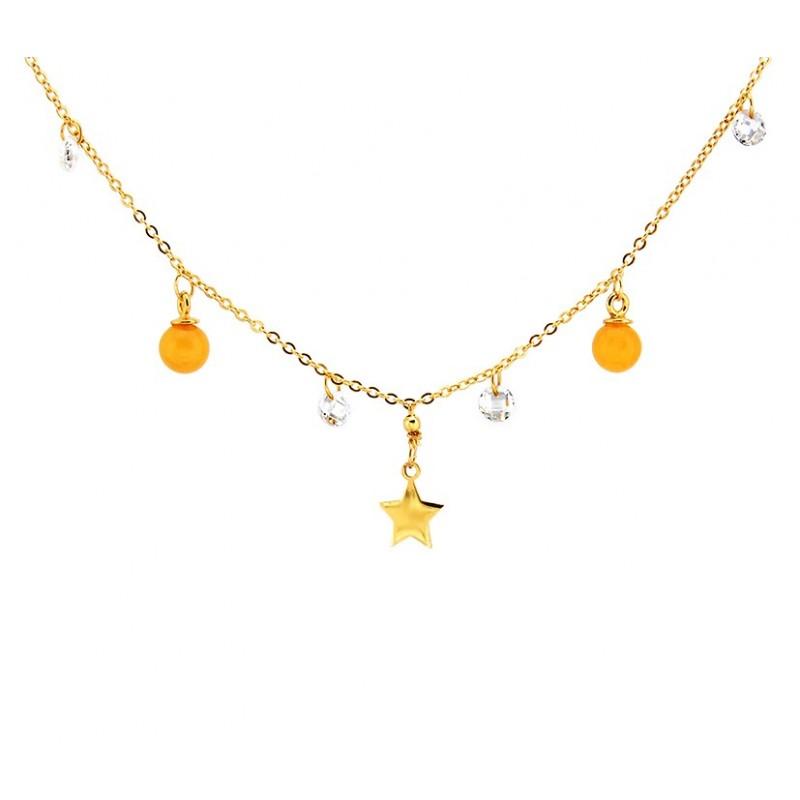 Piękny naszyjnik srebrny pozłocony 24 karatowym złotem z zawieszkami z cyrkonii, gwiazdki i dwóch mlecznych kulek z bursztynu.