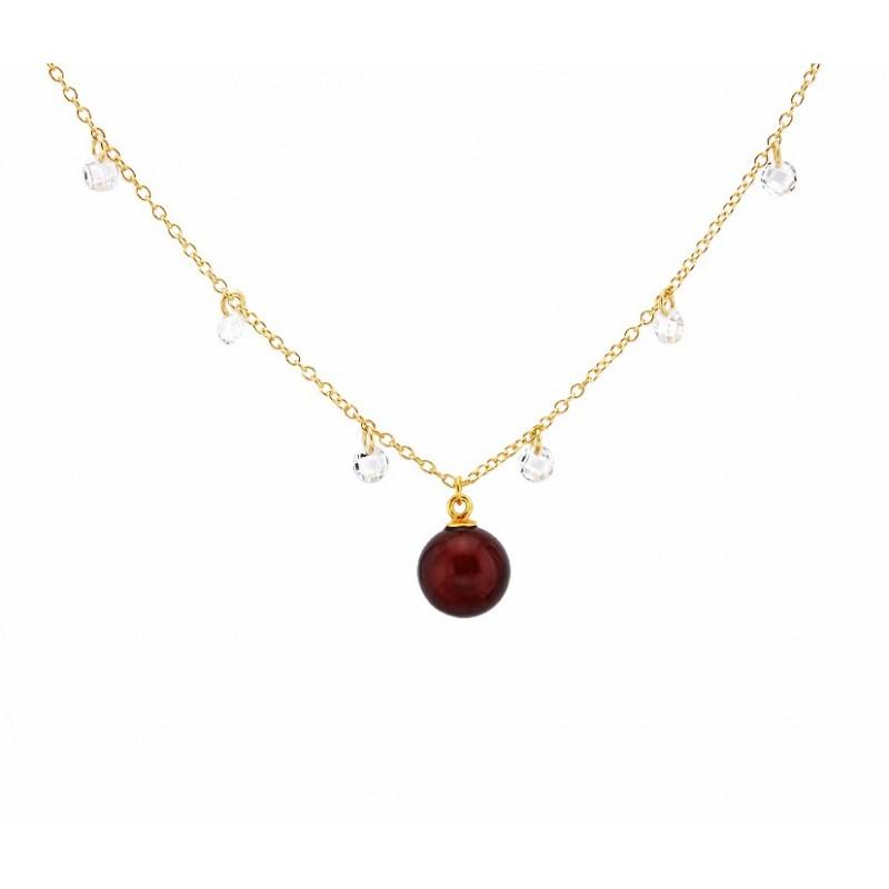 Naszyjnik ze srebra 925 pozłocony 24 karatowym złotem  ozdobiony cyrkoniami bursztynową kulką w koniakowej barwie.