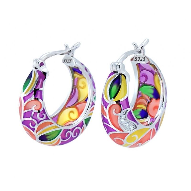 Piękne kolczyki ze srebra 925 o okrągłym kształcie z kolorowa emalią i cyrkoniami.