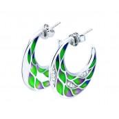 Piękne wiszące kolczyki ze srebra 925 o okrągłym kształcie z kolorowa emalia i cyrkoniami.