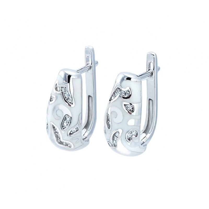 Piękne kolczyki ze srebra próby 925 z białą emalią i cyrkoniami.