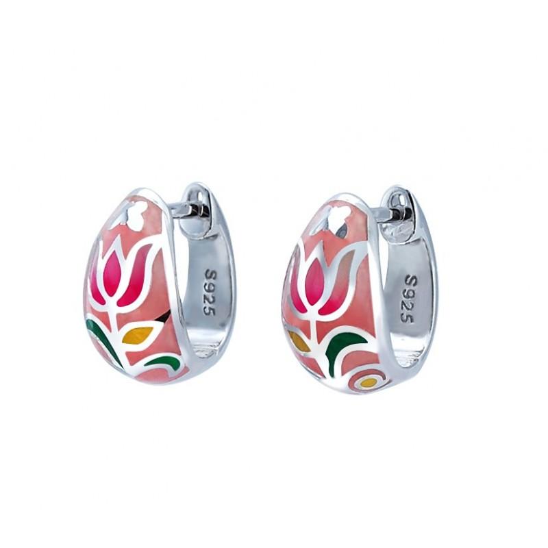 Kolczyki ze srebra 925 z kolorowa emalią i cyrkoniami.