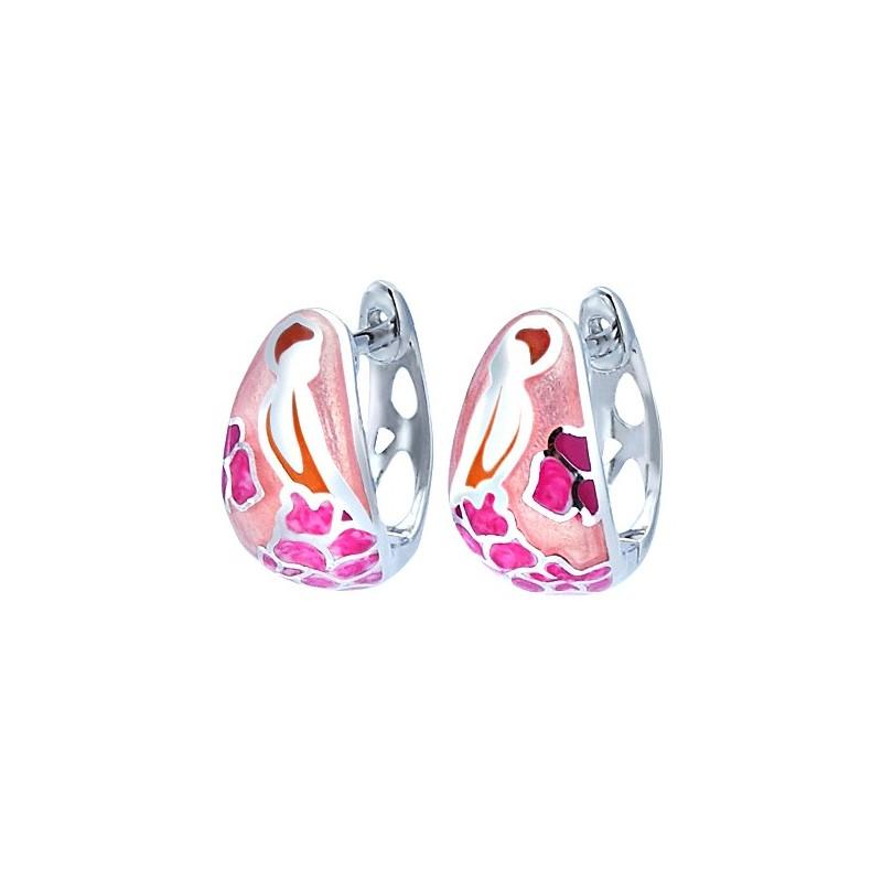 Piękne kolczyki ze srebra próby 925 z kolorowa emalią w różnych odcieniach różu.