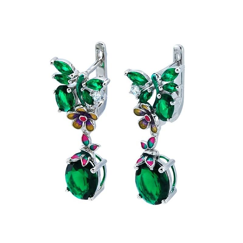 Piękne ozdobne, wiszące kolczyki ze srebra próby 925  z emalią i cyrkoniami w odcieniach zieleni.