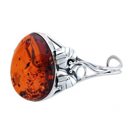 Unikatowa bransoletka ze srebra 925 wykonana całkowicie ręcznie z dużym naturalnym bursztynem w koniakowym kolorze.