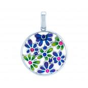 Piękny okrągły wisiorek ze srebra 925 z kolorowa emalią i cyrkoniami.