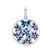 Piękny, okrągły, większy wisiorek ze srebra 925 z kolorowa emalią i cyrkoniami.