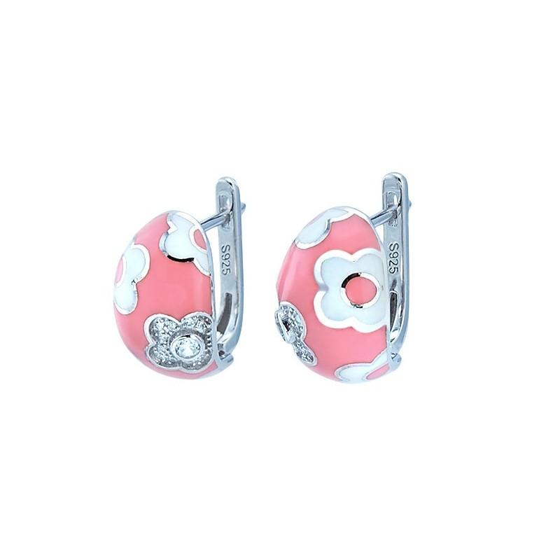 Piękne kolczyki ze srebra próby 925 z biało różową emalią i cyrkoniami.