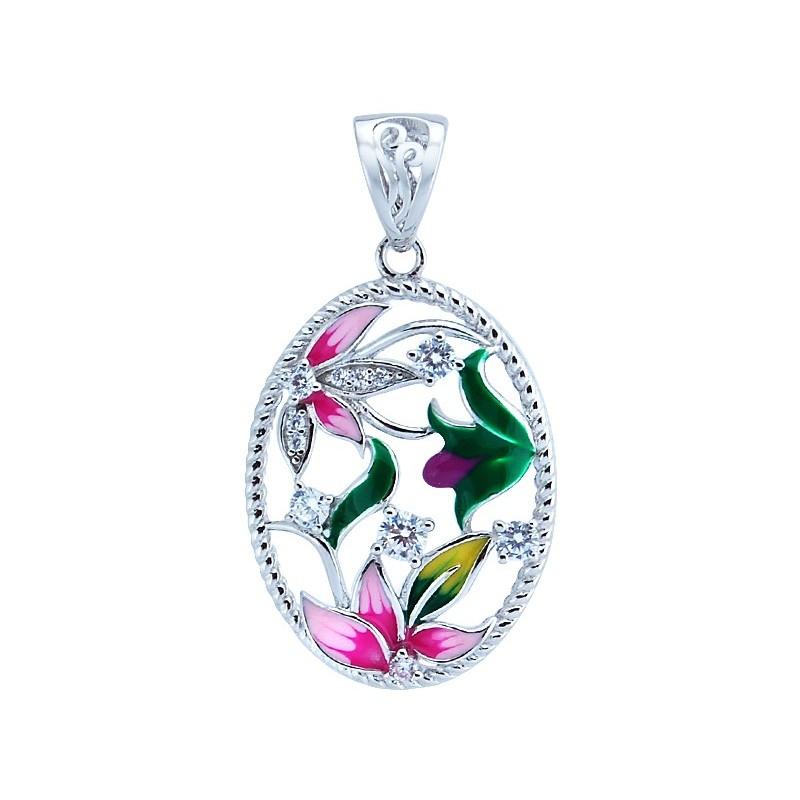 Śliczny okrągły wisiorek ze srebra 925 z kolorowymi kwiatkami z emalia i cyrkoniami.