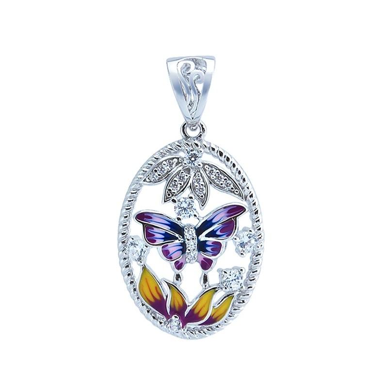 Piękne okrągłe kolczyki ze srebra 925 o kształcie motylków z kolorową emalią i cyrkoniami.