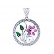 Śliczne okrągłe wisiorki ze srebra 925 o kształcie kwiatka z kolorowa emalią i cyrkoniami.