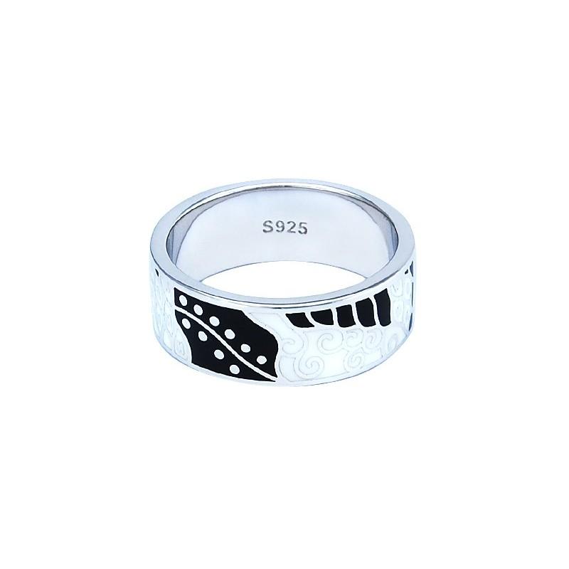Piękny biało-czarny pierścionek ze srebra 925 ręcznie malowany emalią i cyrkoniami.