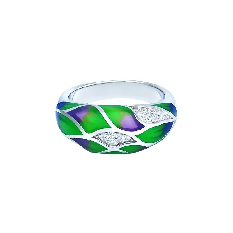 Pierścionek srebrny 925 z kolorowa emalia i cyrkoniami.