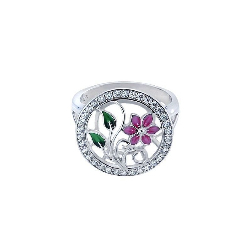 Pierścionek ze srebra próby 925 z kolorową emalia i cyrkoniami w okrągłym kształcie i kwiatuszkami w środku.
