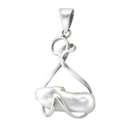 Piękny wisiorek srebrny 925  większy  z podłużna naturalna perłą.