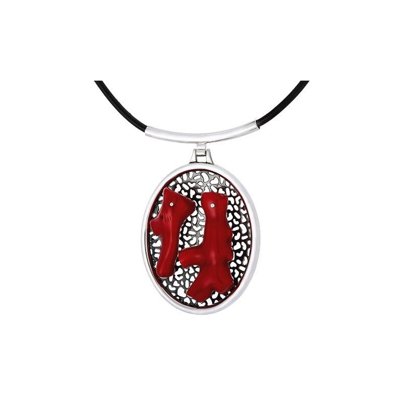 Unikatowy naszyjnik ze srebra 925 z podstawą ażurową i dwoma dużymi czerwonymi koralami w nieregularnych kształtach.