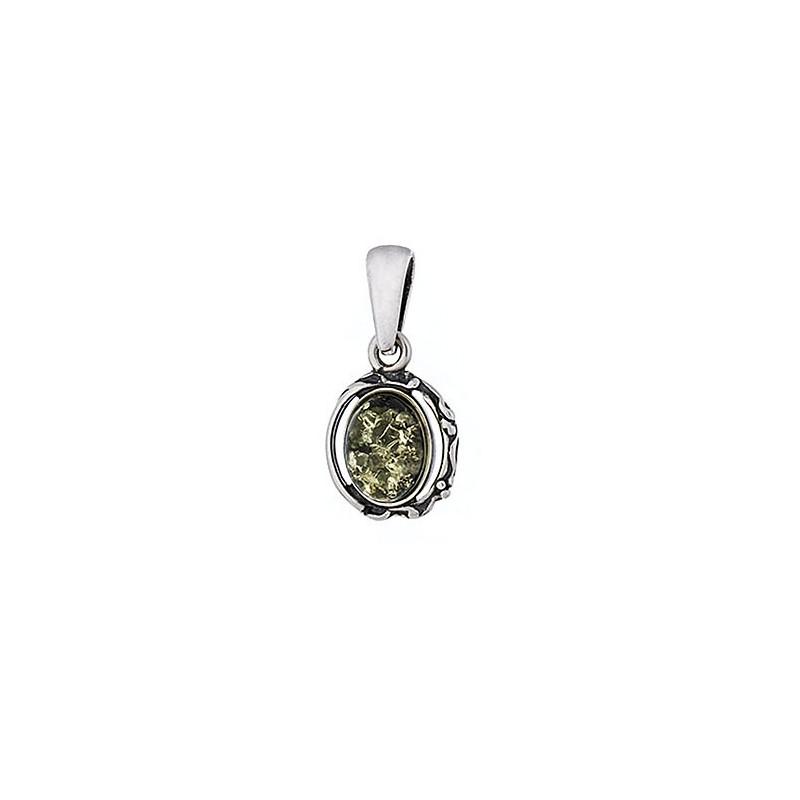 Piękny wisiorek ze srebra próby 925  z bursztynem w zielonym kolorze i delikatnymi bocznymi zdobieniami.