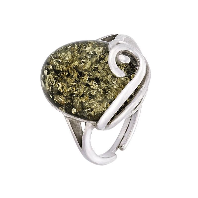 Piękny pierścionek ze srebra 925 z  owalnym bursztynem w zielonym kolorze.