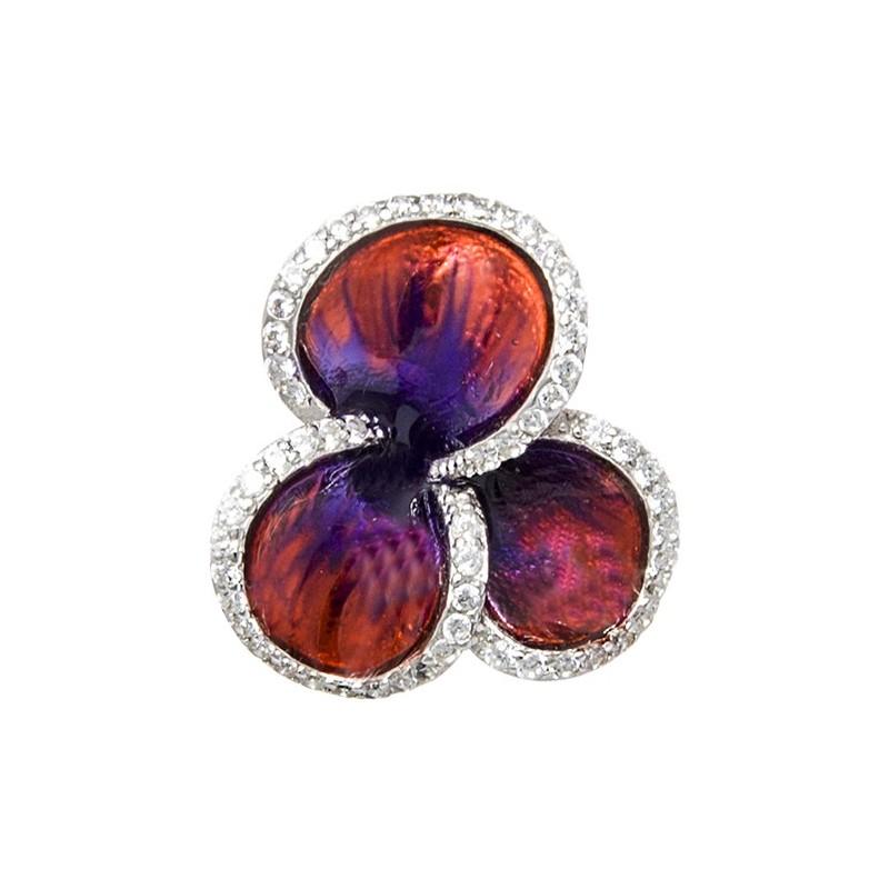 Piękny wisiorek ze srebra próby 925 o kształcie koniczynki z kolorowa emalią i cyrkoniami.