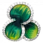 Piękny wisiorek ze srebra 925 o kształcie koniczynki z kolorowa emalią i cyrkoniami.