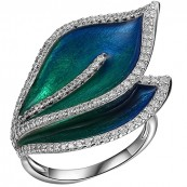 Piękny pierścionek o kształcie listków ze srebra 925 malowany ręcznie emalią i ozdobiony cyrkoniami.