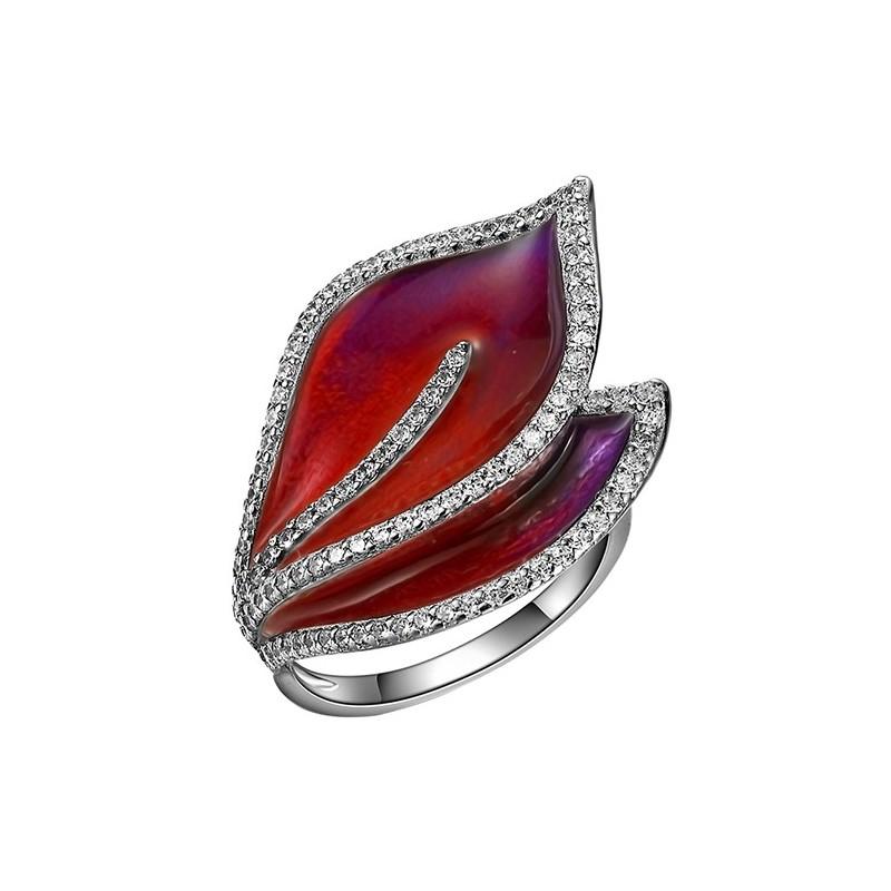 Pierścionek ze srebra 925 w kształcie listków, ręcznie malowany emalia w odcieniach czerwieni i z cyrkoniami.