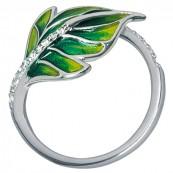 Pierścionek listek ze srebra 925 ręcznie malowany emalią w odcieniach zieleni i cyrkoniami.