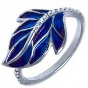 Piękny pierścionek ze srebra 925 ręcznie malowany emalia w odcieniach niebieskich i zdobiony cyrkoniami.