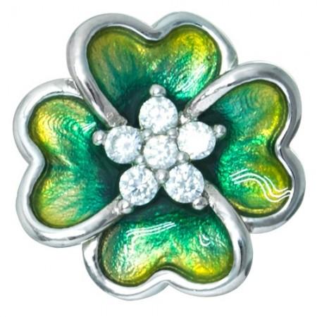 Piękne wisiorek ze srebra 925  o kształcie czterolistnej koniczynki z kolorową emalią i cyrkoniami.