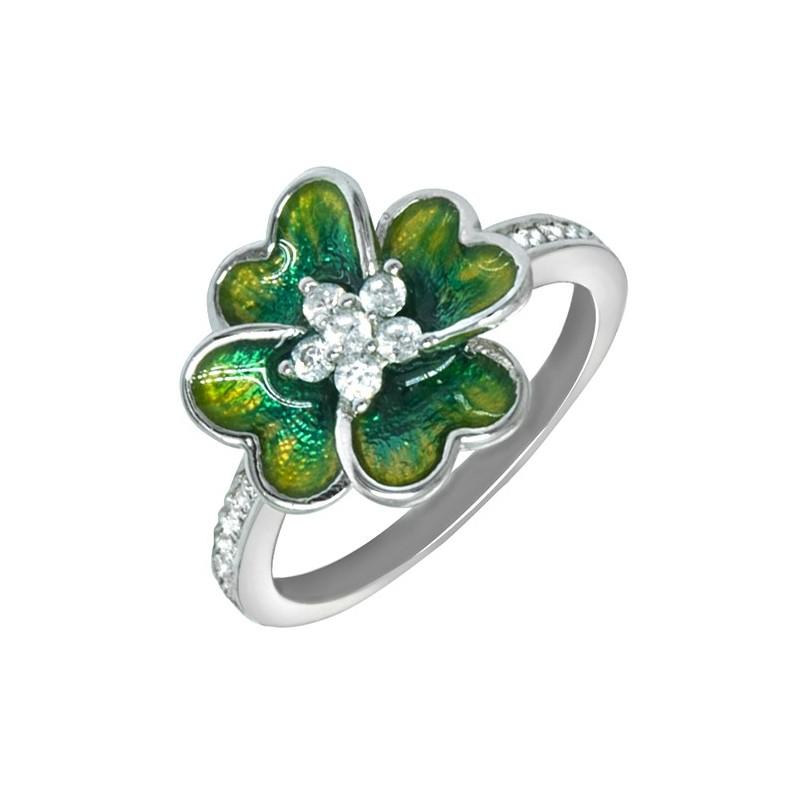 Srebrny 925 pierścionek w kształcie koniczynki ręcznie malowany emalią i cyrkoniami.