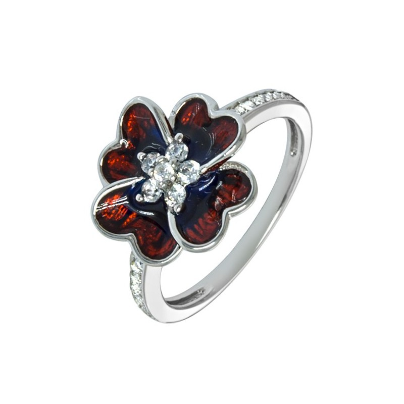 Srebrny pierścionek 925 o kształcie koniczynki z ręcznie malowaną kolorową emalią i cyrkoniami.
