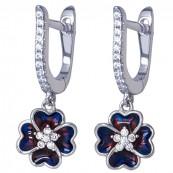 Piękne dłuższe kolczyki kwiatki ze srebra 925 z emalią i cyrkoniami.