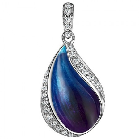 Piękny wisiorek ze srebra 925  z kolorową emalia w niebieskich odcieniach i cyrkoniami.