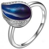 Piękny pierścionek ze srebra 925 z cyrkoniami i ręcznie malowana emalią w odcieniach niebieskich.