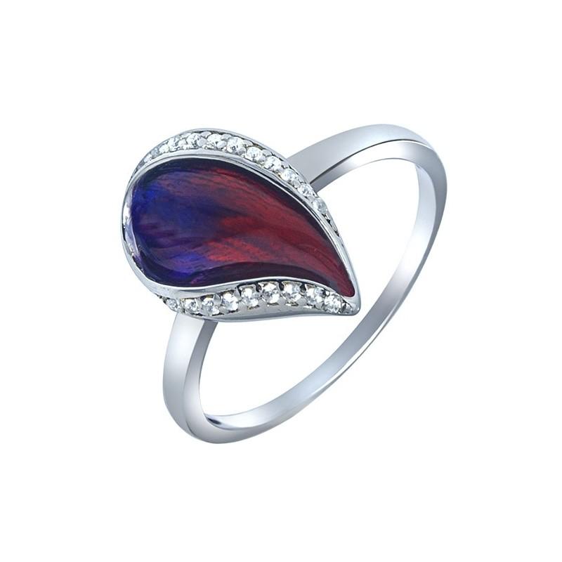 Pierścionek ze srebra 925 w kształcie łezki z kolorową emalią ręcznie malowaną i cyrkoniami.