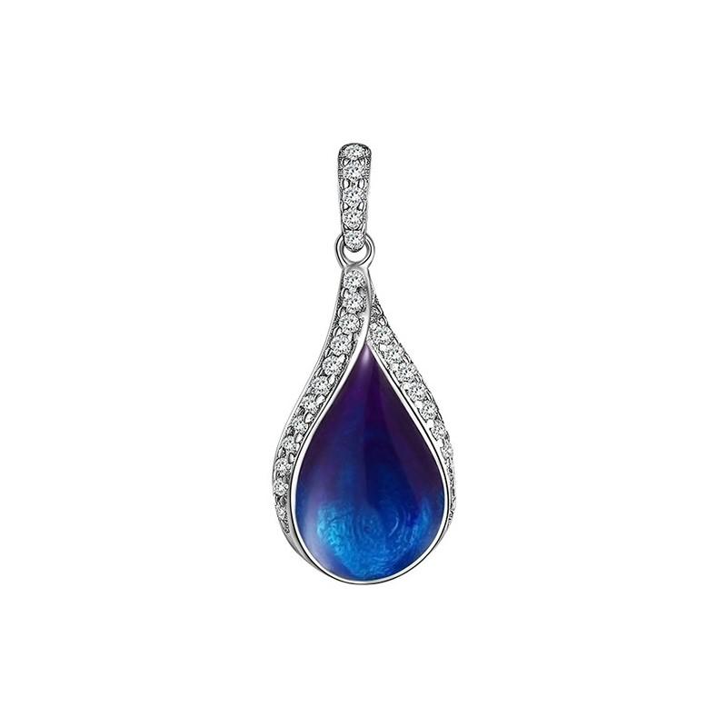 Piękny niebieski wisiorek ze srebra próby 925 z emalią i cyrkoniami.