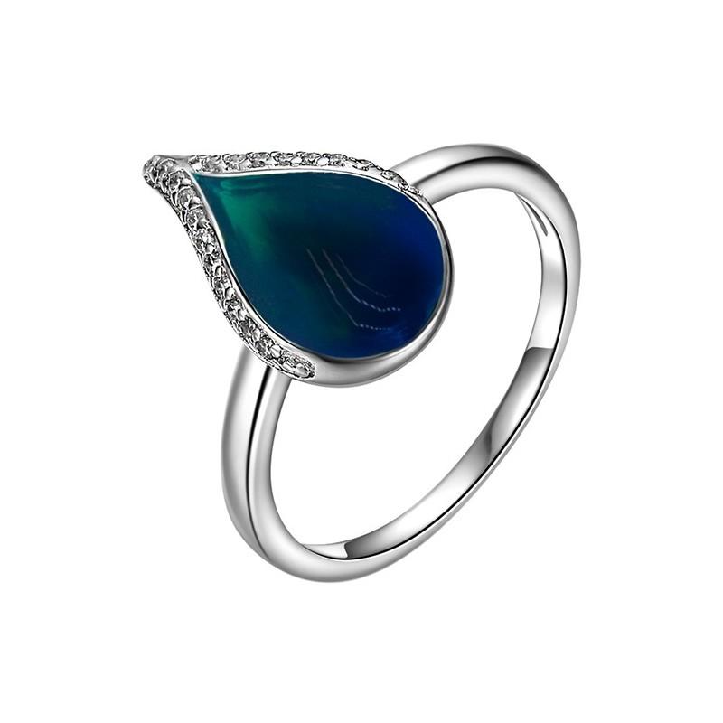 Pierścionek ze srebra 925 w kształcie łezki  z kolorową emalią i cyrkoniami.