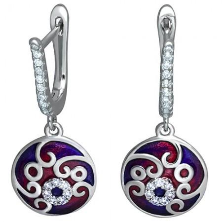 Piękne dłuższe kolczyki  ze srebra 925 z emalią i cyrkoniami.