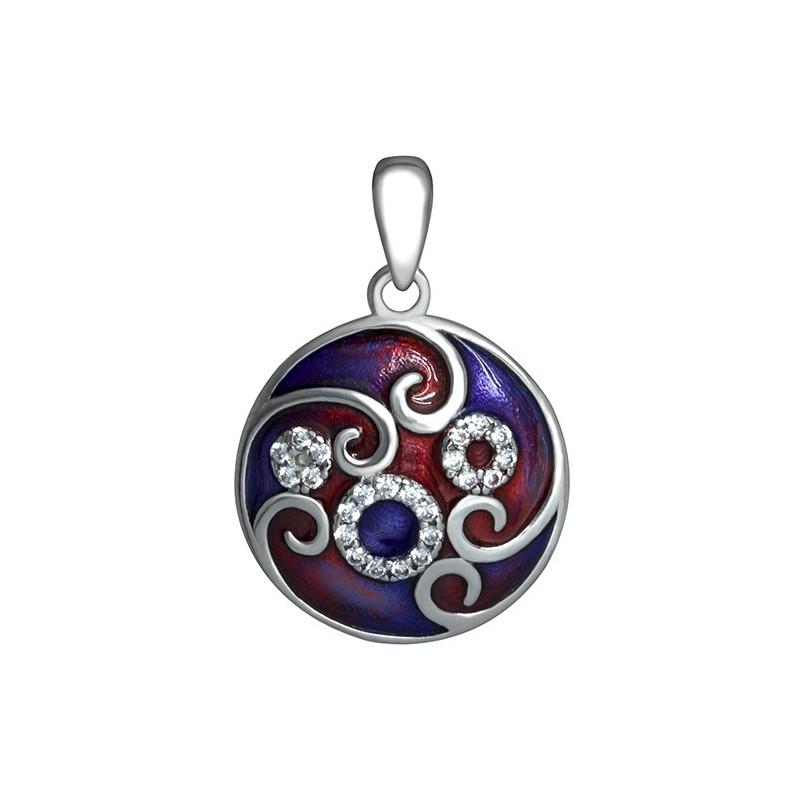 Piękny okrągły wisior ze srebra 925 ręcznie malowany kolorową emalią ozdobioną cyrkoniami.